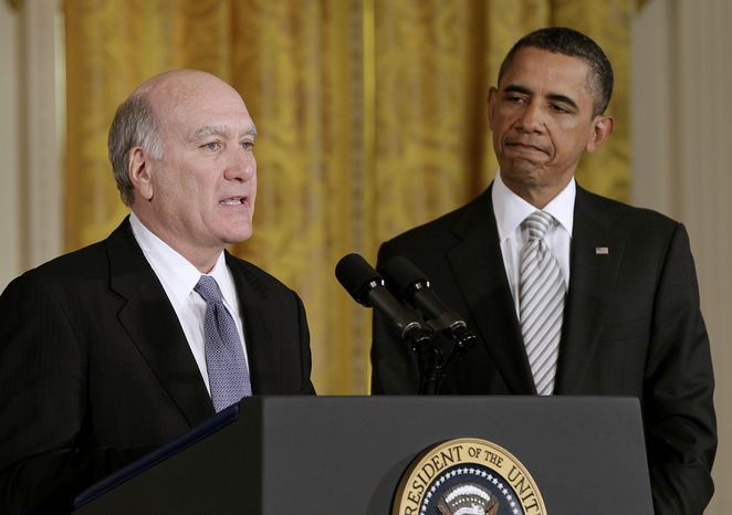 President Obama listens as William Daley, the new White House chief of staff, makes a statement in the East Room of the White House in Washington on Thursday, Jan. 6, 2011. (AP Photo/J. Scott Applewhite) ** FILE **