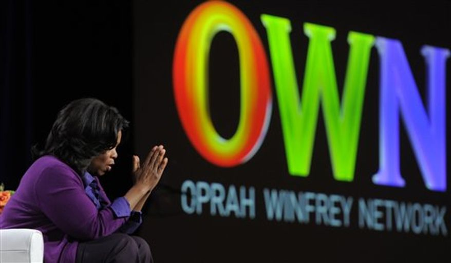 Oprah Winfrey, Chairman of the Oprah Winfrey Network, speaks to reporters during the Discovery Communications Television Critics Association winter press tour in Pasadena, Calif., Thursday, Jan. 6, 2011. (AP Photo/Chris Pizzello)