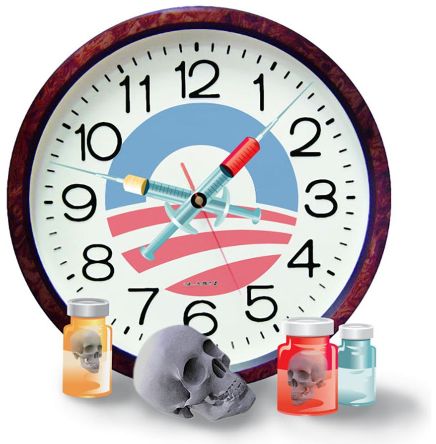 Illustration: Obamacare clock by Greg Groesch for The Washington Times