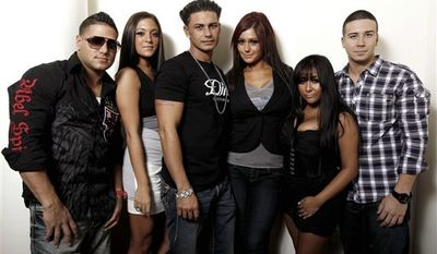 FILE - In this Sept. 12, 2010 file photo, cast members of Jersey Shore, from left,  Ronnie Ortiz-Magro, Paul DelVecchio, Michael Sorrentino, Nicole Polizzi, Jenni Farley, Deena Nicole Cortese, Sammi Giancola and Vinny Guadagnino arrive at the MTV Video Music Awards in Los Angeles. (AP Photo/Chris Pizzello, file)