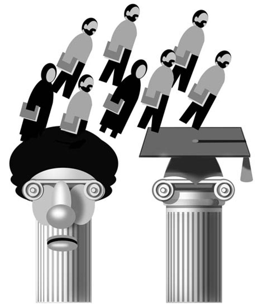 Illustration: Iran's brain drain by Alexander Hunter for The Washington Times