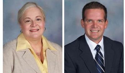 These images provided by the Millard Public Schools shows undated photos of Millard Vice Principal Vicki Kaspar, 58, left, and Principal Curtis Case, 45. Ms. Kaspar died at a hospital hours after the shooting. Mr. Case was listed in stable condition.