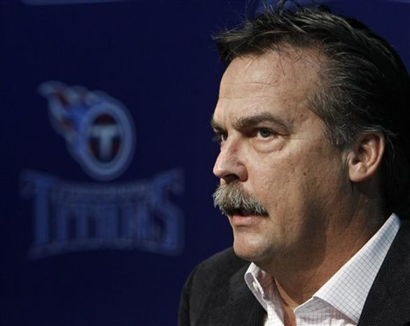 Tennessee Titans coach Jeff Fisher speaks with reporters at the NFL football team's practice facility Monday, Jan. 3, 2011, in Nashville, Tenn. The Titans' playoff hopes that came with a 5-2 start in the season disappeared with injuries to quarterback Vince Young and eight losses in their final nine games. (AP Photo/Mark Humphrey)