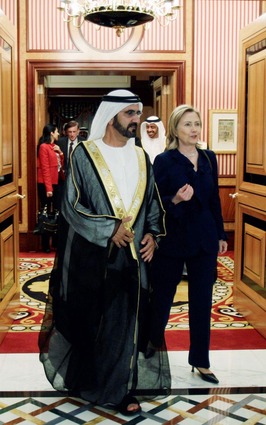 Secretary of State Hillary Rodham Clinton leaves Zabeel Palace after her meeting with United Arab Emirates Prime Minister Sheik Mohammad bin Rashid Al Maktoum in Dubai on Monday. (Associated Press)