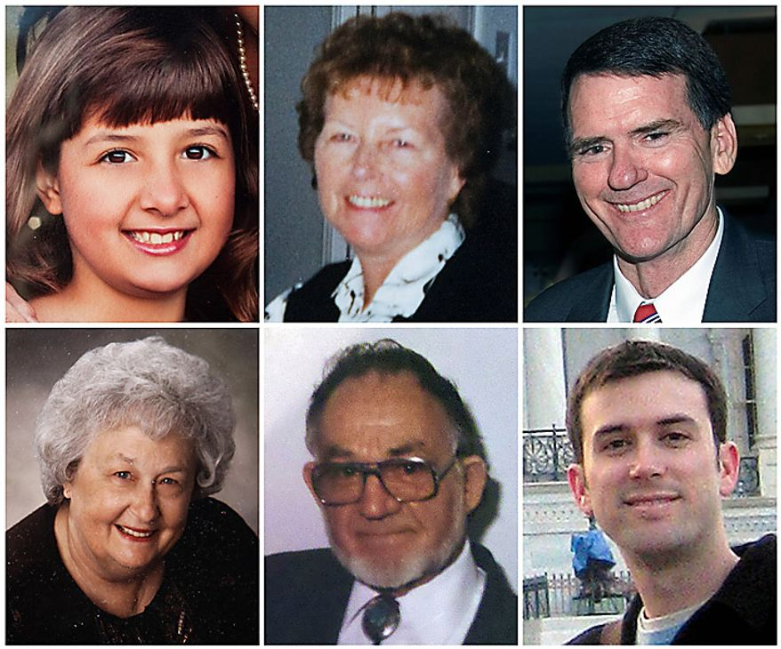 In this photo combo, victims killed at a political event with Rep. Gabrielle Giffords in Tucson, Ariz. on Saturday, Jan. 8, 2011, are shown. From top left, Christina Taylor Green, 9, Dorothy Morris, 76, Arizona Federal District Judge John Roll, 63, from bottom left, Phyllis Schneck, 79, Dorwin Stoddard, 76, and Gabe Zimmerman, 30. (AP Photo)