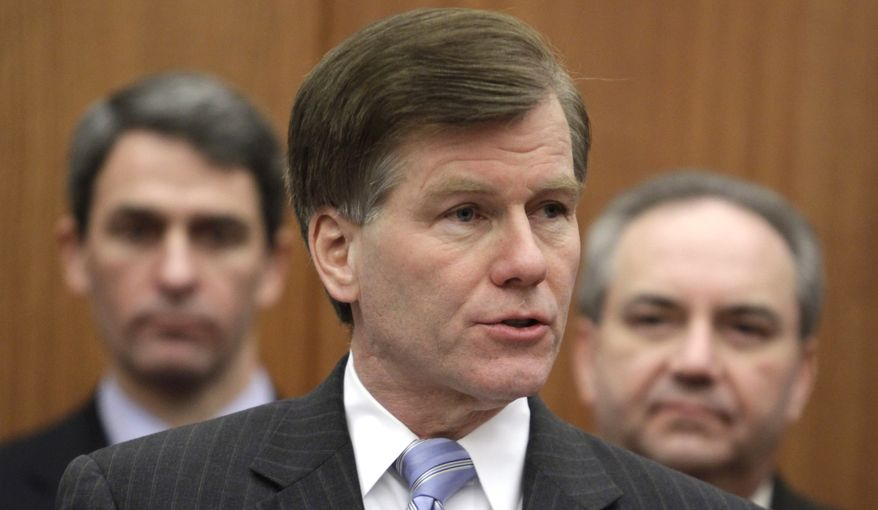 Virginia Gov. Bob McDonnell gestures during a press conference detailing the Republican agenda for the 2011 session of the General Assembly as Virginia Attorney General, Ken Cuccinelli, left, and Lt. Gov. Bill Bolling, right, listen at the Capitol in Richmond, Va., Tuesday, Jan. 11, 2011. (AP Photo/Steve Helber)