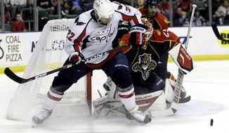 Florida Panthers goalie Tomas Vokoun (29) makes a save as Washington Capitals' Mike Knuble (22) attempts a shot on the goal in the first period during an NHL hockey game in Sunrise, Fla., Tuesday, Jan. 11, 2011. (AP Photo/Lynne Sladky)