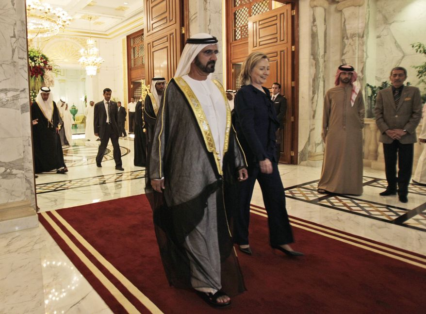 Secretary of State Hillary Rodham Clinton leaves the Zabeel Palace after her meeting with Sheik Mohammad bin Rashid Al Maktoum, prime minister of the United Arab Emirates and ruler of Dubai, in Dubai, United Arab Emirates, Monday Jan. 10, 2011. (AP Photo/Kamran Jebreili)