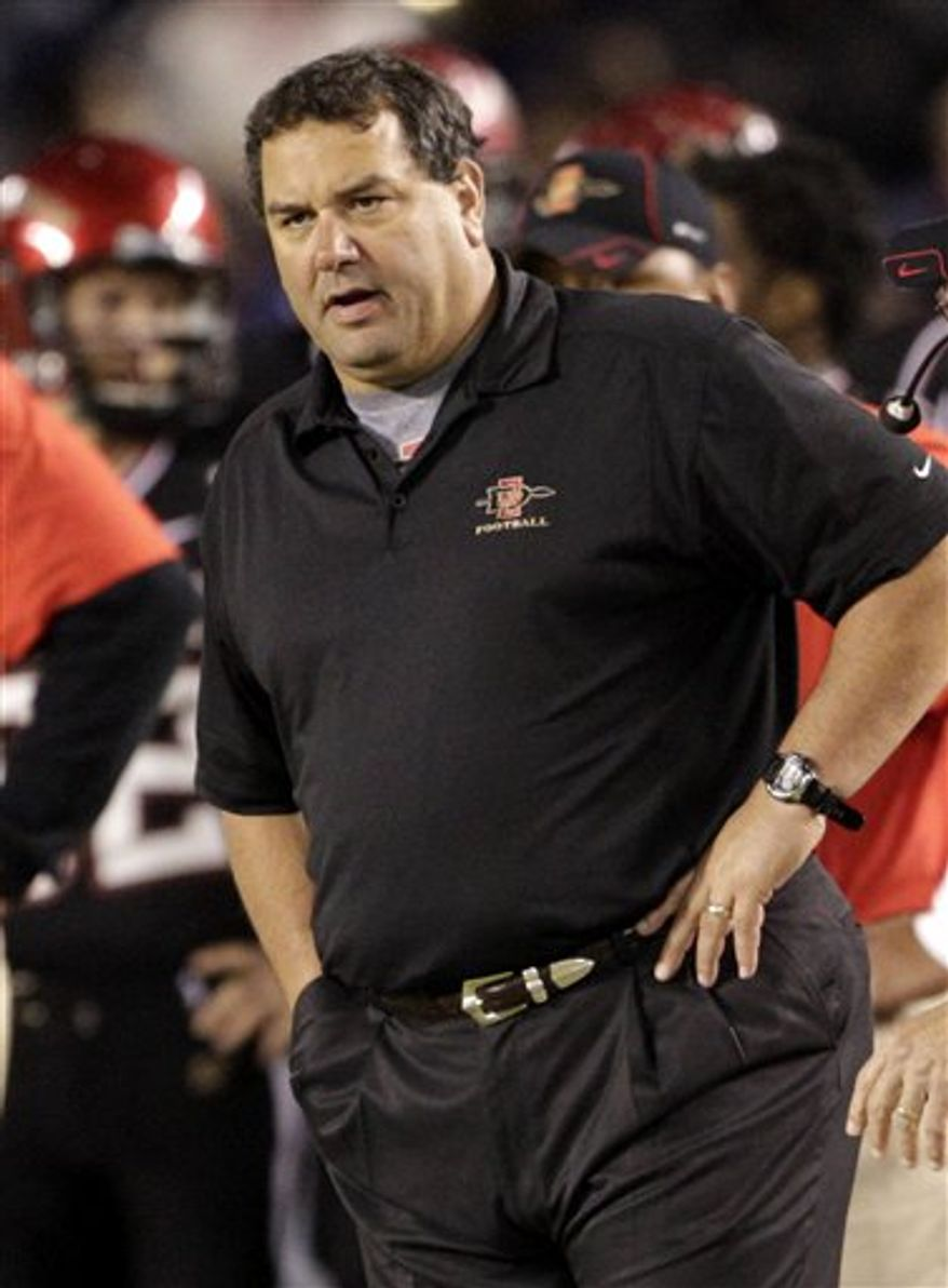 FILE - This Nov. 14, 2009, file photo shows San Diego State head coach Brady Hoke gesturing to his players after a field goal during the second quarter of an NCAA college football game against Wyoming,  in San Diego. Michigan has picked Hoke as its new football coach. Athletic director Dave Brandon announced the decision Tuesday, Jan. 11, 2011, hours after LSU said Les Miles would be staying with the Tigers. (AP Photo/Denis Poroy, File)