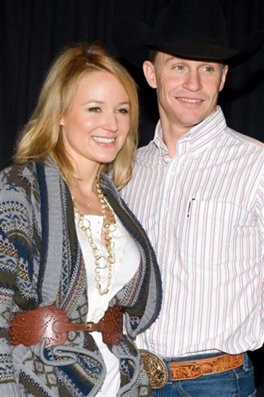 FILE - In this Jan. 8, 2010 file photo, Jewel and Ty Murray attend a press conference to announce a new charitable partnership between Garth Brooks and the Professional Bull Riders, Inc. at Madison Square Garden in New York. (AP Photo/Charles Sykes, file)