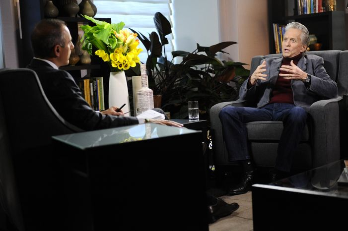 """Actor Michael Douglas, right, speaks during an interview with Matt Lauer, co-host of the NBC """"Today"""" show on Monday, Jan. 10, 2011 , in New York. The interview  aired Tuesday. (AP Photo/NBC, Peter Kramer)"""