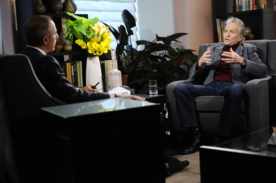 "Actor Michael Douglas, right, speaks during an interview with Matt Lauer, co-host of the NBC ""Today"" show on Monday, Jan. 10, 2011 , in New York. The interview  aired Tuesday. (AP Photo/NBC, Peter Kramer)"
