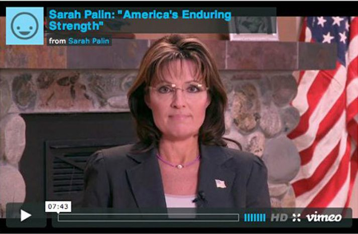 Former Alaska Gov. Sarah Palin posted a video statement on her Facebook page Wednesday, criticizing media pundits for blaming her in the Arizona shooting. (AP photo)