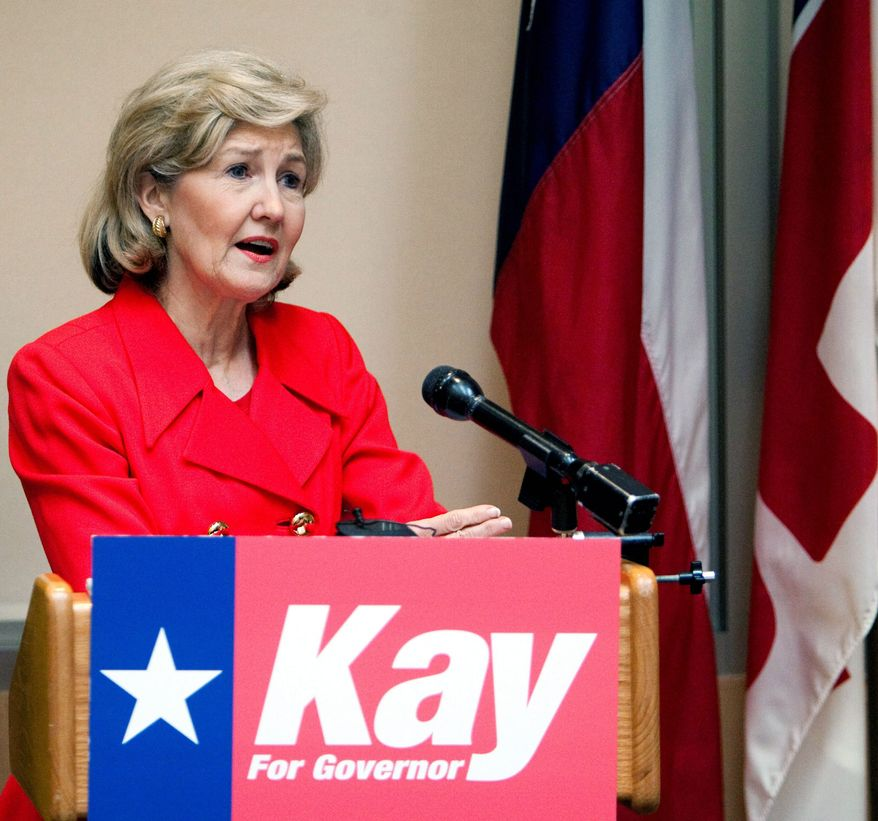 STEPPING DOWN: Sen. Kay Bailey Hutchison, Texas Republican, on Thursday announced plans to retire. (Associated Press)