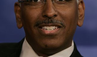 Republican National Committee Chairman Michael Steele answers a question during a debate in Arlington, Va., on Oct. 25, 2006. (AP Photo/Chris Gardner, File)