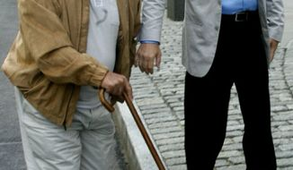 "** FILE ** In this June 15, 2010, file photo, John ""Sonny"" Franzese, left, arrives at federal court in the Brooklyn Borough of New York. To the dismay of supporters who insist the frail 93-year-old is a decrepit shadow of his former self, the government has asked a judge in federal court in Brooklyn to sentence him on Friday, Jan. 14, 2011, to 12 years or more in prison. (AP Photo/Bebeto Matthews, File)"