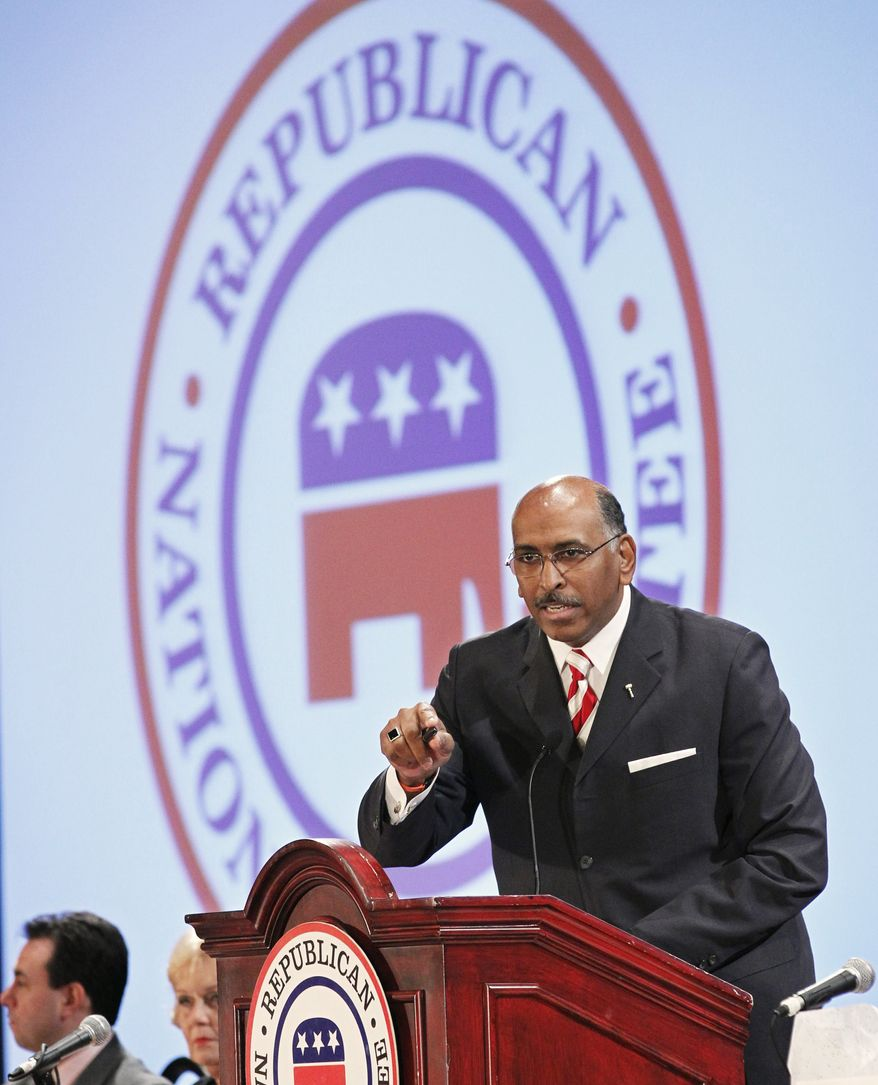 Republican National Committee (RNC) Chairman Michael Steele makes his remarks during a Republican National Committee Winter Meeting in Oxon Hill, Md., on Friday, Jan. 14, 2011. (AP Photo/Manuel Balce Ceneta)