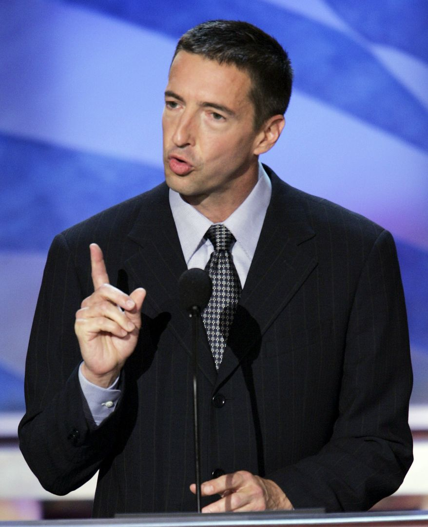 ** FILE ** In this July 27, 2004, file photo, Ron Reagan, son former President Ronald Reagan, talks about stem cell research to the delegates at the Democratic National Convention in Boston. Ronald Reagan's son suggests in a new book that his father suffered from the beginning stages of Alzheimer's disease while he was still in the White House, Friday, Jan. 14, 2011. (AP Photo/Ron Edmonds, File)