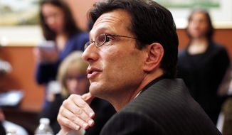 """""""It is telling that the more Americans learn about it, the more discouraged they are by its harmful effects,"""" new House Majority Leader Eric Cantor said Sunday about the new health care law. (Associated Press)"""