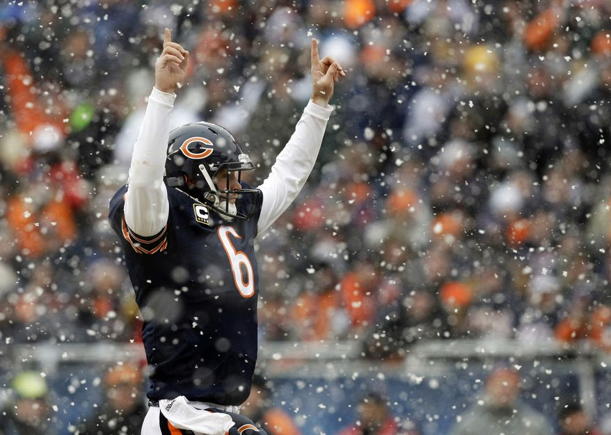 Chicago Bears quarterback Jay Cutler (6) reacts after running back Chester Taylor rushed for a touchdown during the first half an NFL divisional playoff football game against the Seattle Seahawks, Sunday, Jan. 16, 2011, in Chicago. (AP Photo/Kiichiro Sato)