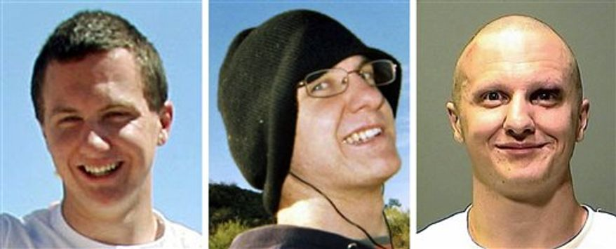 FILE - This combination image of three file photos shows Jared Lee Loughner, the gunman accused of trying to assassinate Arizona Rep. Gabrielle Giffords and killing six others. From left to right Loughner is seen at the Tucson Festival of Books in a March 2010 photo by Mamta Popat of the Arizona Daily Star, in an undated photo obtained from MySpace, and in another undated photo released by the Pima County Sheriff's Office to the The Arizona Republic. Loughner was not on any government watch list before the shooting. (AP Photo/Files)   MANDATORY CREDIT. NO MAGAZINES. NO SALES.