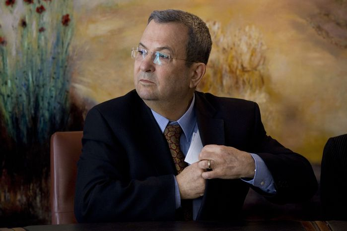 Israeli Defense Minister Ehud Barak attends a press conference in the Knesset, Israel's parliament, in Jerusalem, Monday, Jan. 17 2011, where he abruptly announced that he was leaving his Labor Party and forming a new parliamentary faction inside the governing coalition. (AP Photo/Bernat Armangue)