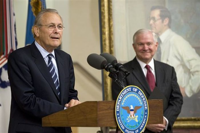 "FILE - In this June 25, 2010 file photo released by the Department of Defense, former Defense Secretary Donald H. Rumsfeld addresses the audience while Defense Secretary Robert M. Gates looks on during Rumsfeld's portrait unveiling ceremony at the Pentagon. Producers of ""The Good Wife"" said Friday, Jan. 14, 2011, they were writing an episode with a role for Rumsfeld, who was the defense secretary in George W. Bush and Gerald Ford's administrations. The drama has had public figures occasionally appear as themselves, including Vernon Jordan, Lou Dobbs and Joe Trippi. (AP Photo/DOD, Cherie Cullen, file)"