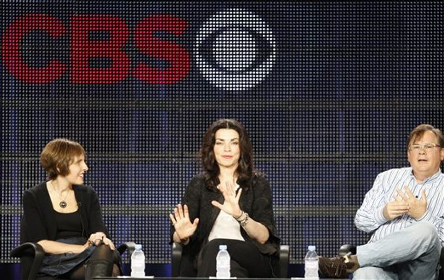 """Actress Julianna Margulies takes questions from televisions critics about her show """"The Good Wife,"""" during the CBS portion of the 2011 Winter TCA press tour Jan. 14, 2011 in Pasadena, Calif. (AP Photo/Damian Dovarganes)"""