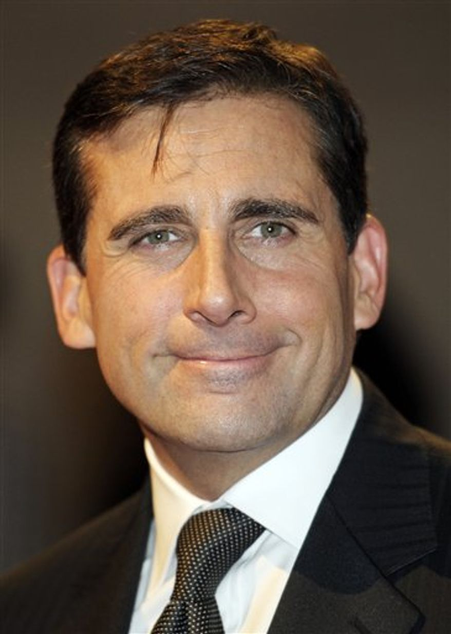 "FILE - In this Nov. 9, 2010 file photo, actor Steve Carell arrives at the Kennedy Center for the Mark Twain Prize for Humor show in Washington.  NBC said Friday, Jan. 14, 2011, that Carell will leave ""The Office,"" with four episodes left in the season. (AP Photo/Cliff Owen, file)"