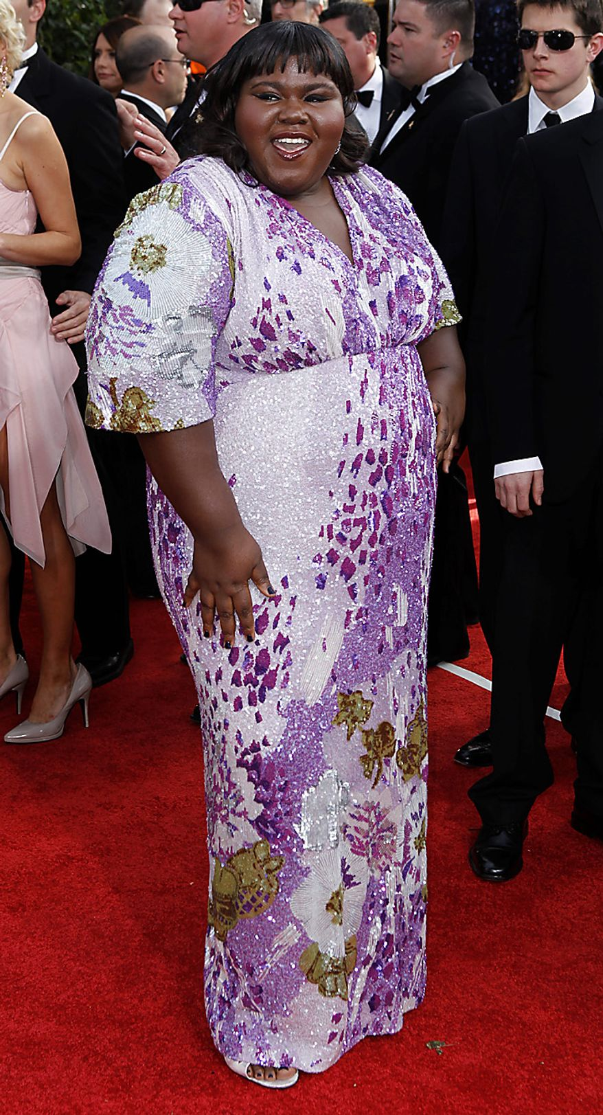 Gabourey Sidibe arrives for the Golden Globe Awards Sunday, Jan. 16, 2011, in Beverly Hills, Calif. (AP Photo/Matt Sayles)