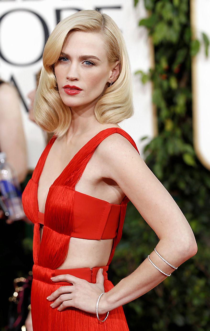 Actress January Jones arrives at the Golden Globe Awards Sunday, Jan. 16, 2011, in Beverly Hills, Calif. (AP Photo/Matt Sayles)