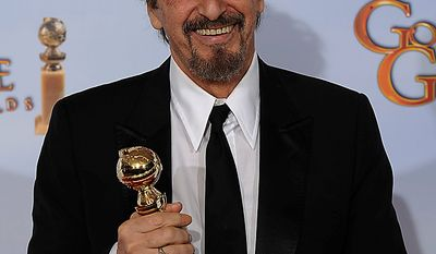 "Al Pacino holds up his award for Best Performance by and Actor in a Mini-Series or Motion Picture Made for Television for his role in ""You Don't Know Jack,""  at the Golden Globe Awards Sunday, Jan. 16, 2011, in Beverly Hills, Calif. (AP Photo/Matt J. Terrill)"