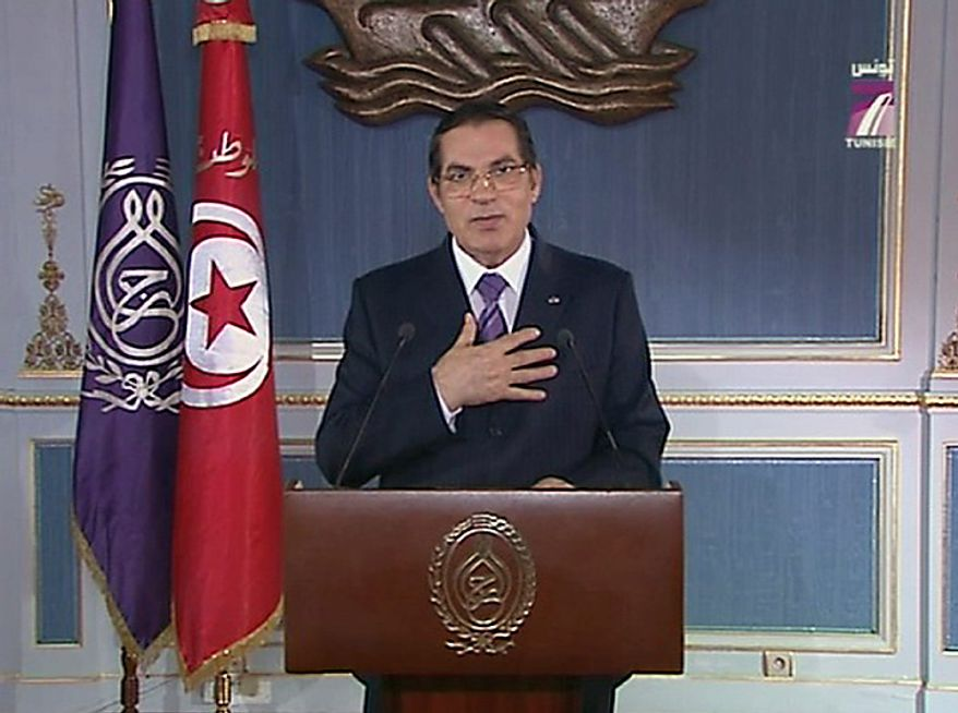 In this image made from Channel 7 Tunisia TV Tunisian President Zine El Abidine Ben Ali is seen making a speech in Tunis, on Thursday Jan. 13 2011.  Violent anti-government protests drove Tunisian President Zine El Abidine Ben Ali from power Friday Jan. 14 2011 after 23 years of iron-fisted rule, as anger over soaring unemployment and corruption spilled into the streets. (AP Photo / Channel 7 Tunisia)