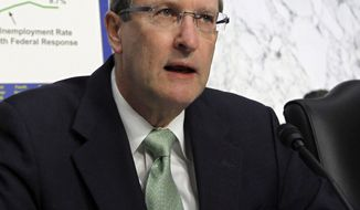 Senate Budget Committee Chairman Kent Conrad, North Dakota Democrat, speaks on Capitol Hill in Washington on Jan. 7, 2011. Mr. Conrad said Tuesday, Jan. 18, 2011, he will not run for re-election in 2012. (AP Photo/Alex Brandon, File)