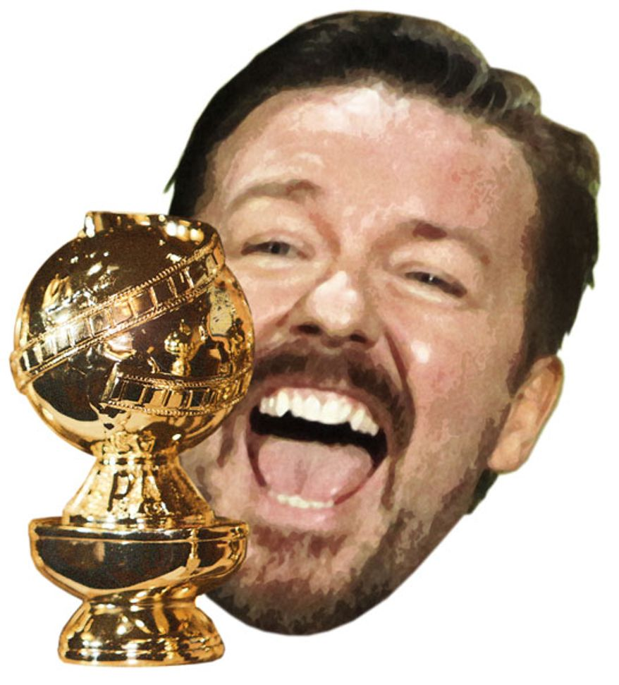 Illustration: Ricky Gervais by Greg Groesch for The Washington Times