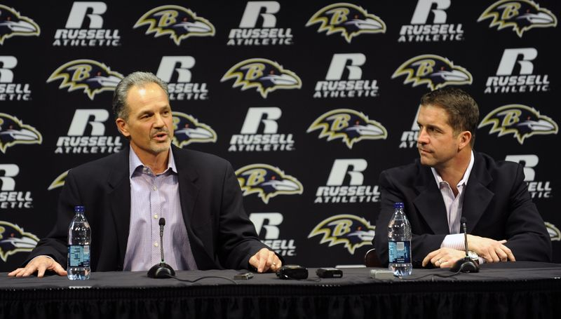 Baltimore Ravens head coach John Harbaugh, right, and new defensive coordinator Chuck Pagano speak during a news conference in Owings Mills, Md., Wednesday, Jan. 19, 2011. (AP Photo/Gail Burton)