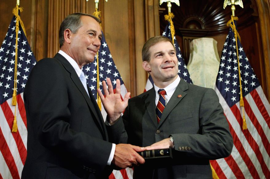 """** FILE ** This file photo shows House Speaker John Boehner, Ohio Republican, (left) and Rep. Jim Jordan, Ohio Republican. """"Families and businesses have had to cut back, and they're demanding that Washington do the same,"""" said Jordan, chairman of the Republican Study Committee, the House conservative caucus. (Associated Press)"""