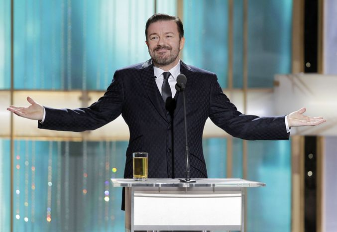 **FILE** In this Jan. 16 image released by NBC, host Ricky Gervais is shown during the 68th Annual Golden Globe Awards in Beverly Hills, Calif. (Associated Press/NBC, Paul Drinkwater)
