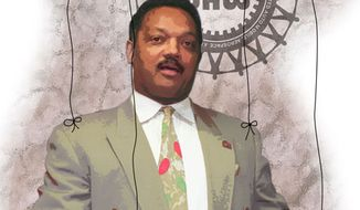 Illustration: Jesse Jackson and UAW by Greg Groesch for The Washington Times