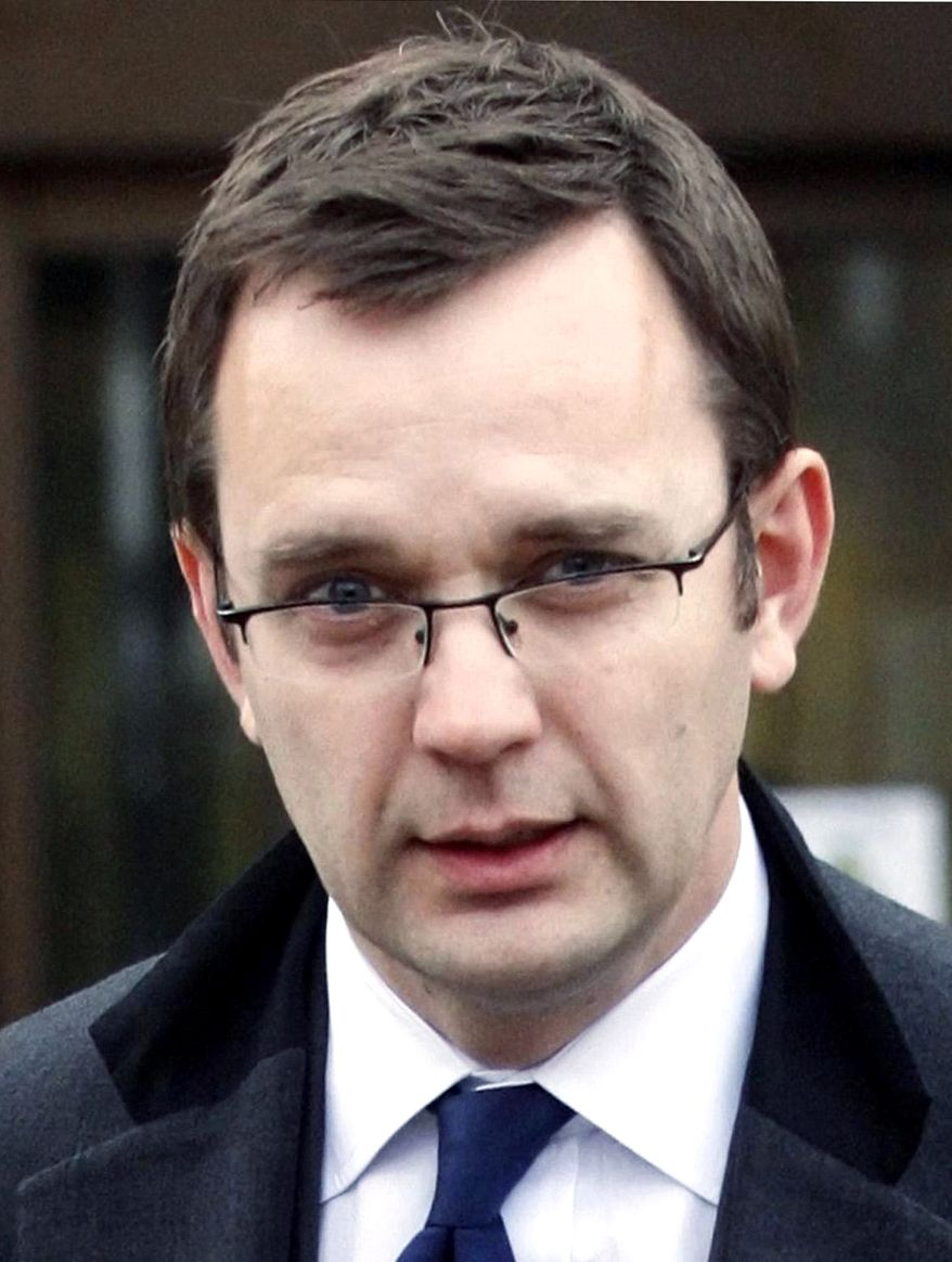 Andy Coulson quit as British Prime Minister David Cameron's communications chief on Friday Jan. 21, 2011, saying the continuing row over phone-hacking when he was editor of the News of the World newspaper was distracting from his job. (AP Photo/Danny Lawson-pa, file)