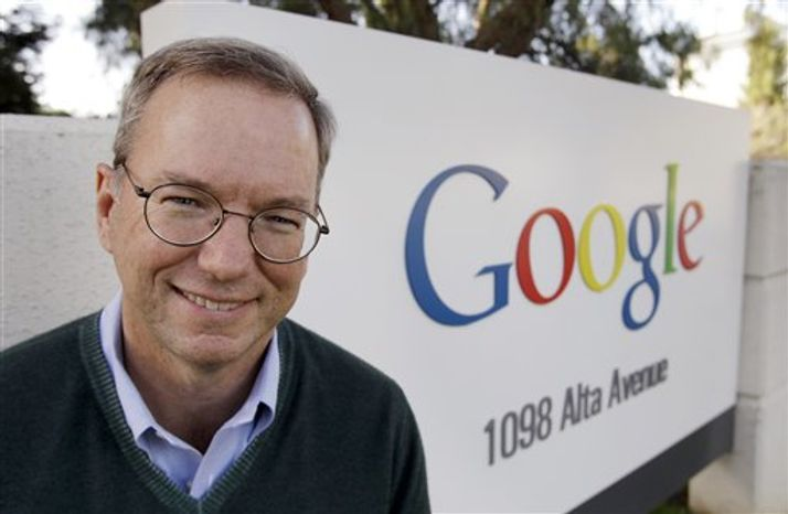 **FILE** Google executive Eric Schmidt is seen Jan. 19, 2011, outside of Google headquarters in Mountain View, Calif. (Associated Press)