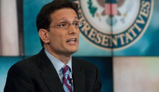 "Rep. Eric Cantor, Virginia Republican, speaks on NBC's ""Meet the Press"" on Sunday. The new House majority leader said he believes President Obama is a citizen, he but refused to characterize people who question Mr. Obama's citizenship as ""crazy."" (NBC via Associated Press)"