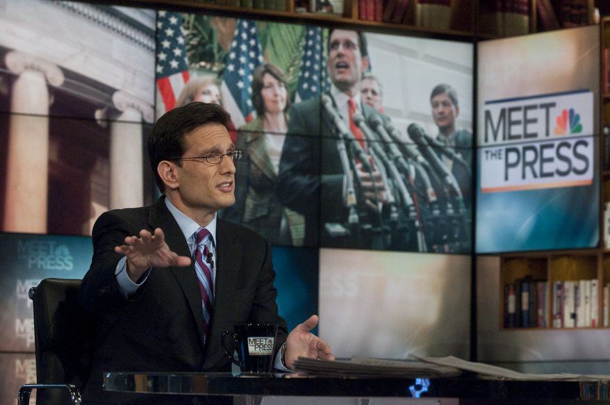 """House Majority Leader Eric Cantor, Virginia Republican, said on NBC's """"Meet the Press"""" on Sunday, Jan. 23, 2011, that he believes President Obama is a citizen and that most Americans are beyond that question. He refused to call people who question Mr. Obama's citizenship """"crazy,"""" saying it's not nice to call anyone crazy. (AP Photo/NBC, William B. Plowman)"""