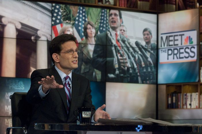 """In this photo provided by NBC television, Rep. Eric Cantor, Virginia Republican, speaks Sunday on NBC's """"Meet the Press"""" in Washington. The new House Majority leader said he believes Obama is a citizen and that most Americans are beyond that question. He refused to call people who question Obama's citizenship """"crazy,"""" saying it's not nice to call anyone crazy. (Associated Press/NBC, William B. Plowman)"""