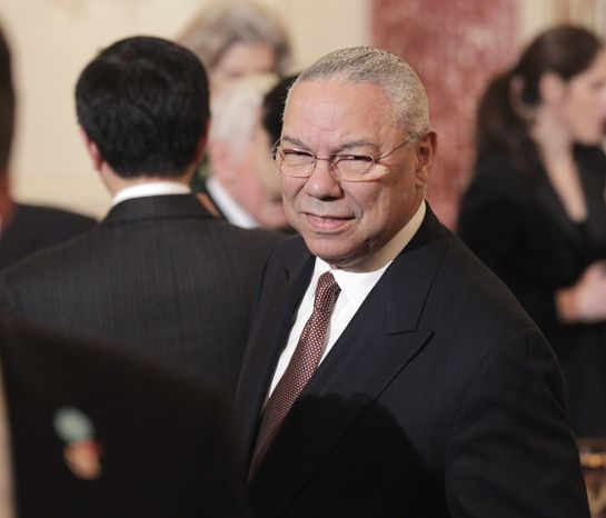 Former Secretary of State Colin Powell arrives for a luncheon for Chinese President Hu Jintao on Wednesday, Jan. 19, 2011, at the State Department in Washington. (AP Photo/Pablo Martinez Monsivais)