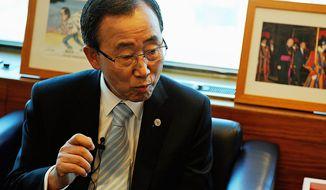 **FILE** U.N. Secretary-General Ban Ki-moon (The Washington Times)