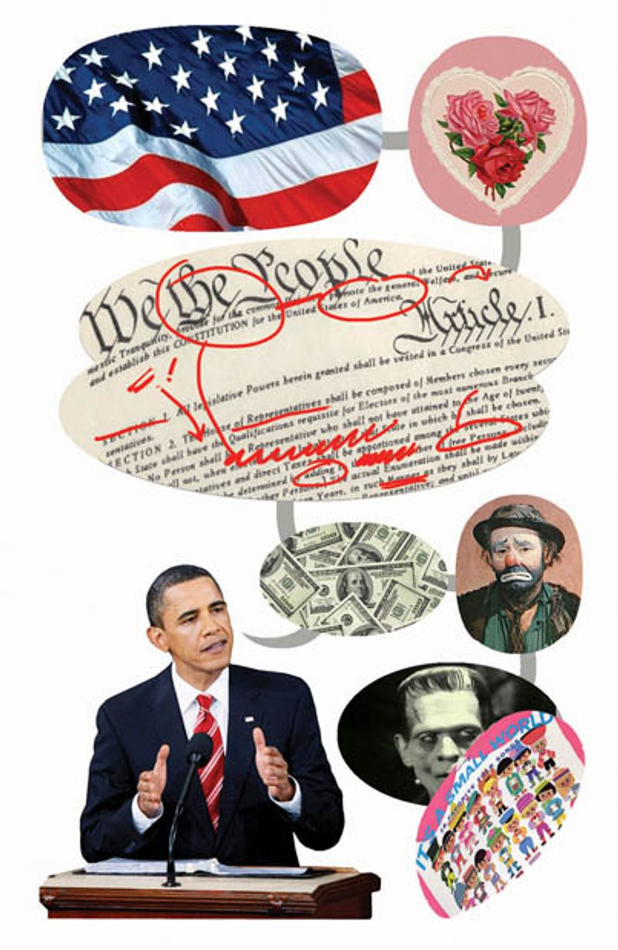 Illustration: Obama's State of the Union by Alexander Hunter for The Washington Times