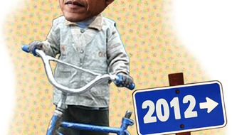 Illustration: Obama's bicycle by Greg Groesch for The Washington Times