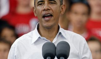 **FILE** President Obama speaks Sept. 28 during a rally at the University of Wisconsin in Madison, Wis. (Associated Press)