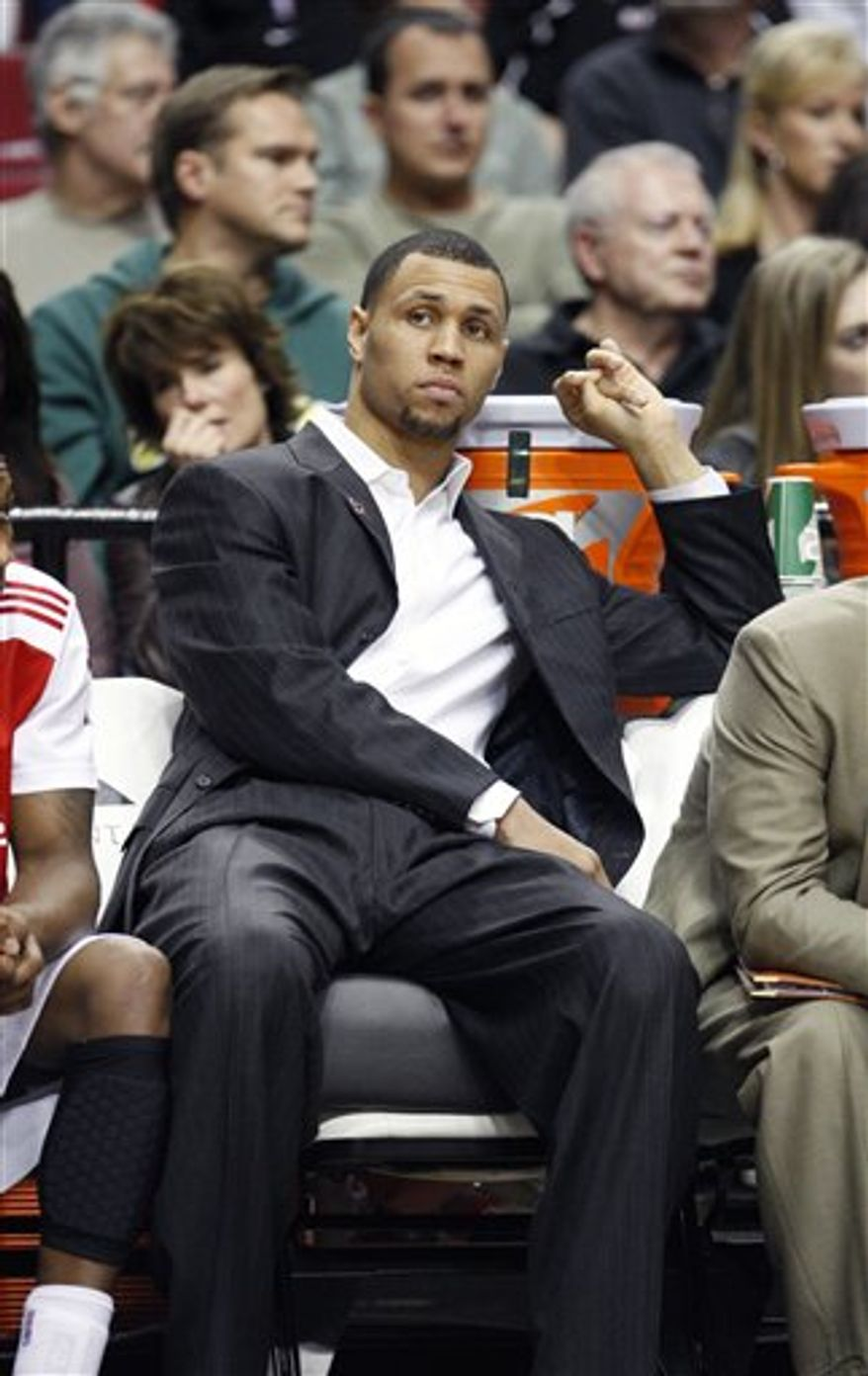 Portland Trail Blazers' Brandon Roy sits on the bench in the second quarter of an NBA basketball game with the Indiana Pacers Saturday, Jan. 22, 2011, in Portland, Ore.   (AP Photo/Rick Bowmer)